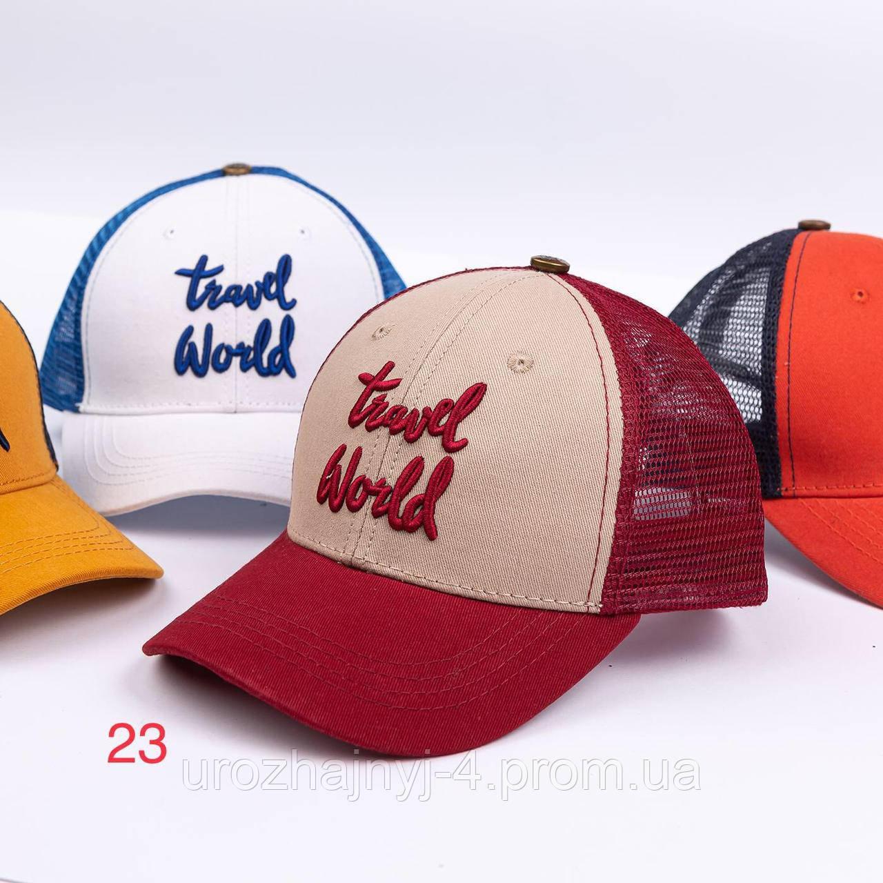 """Котонові кепка з сіткою """"World Travel"""" р 52-54"""