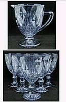 Комплект бокалы винные 6 шт + кувшин Изумруд цвет Голубой Новинка