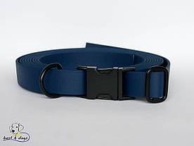 Нашийник з биотана, Синій Темний, 19мм(з чорним фастексом)