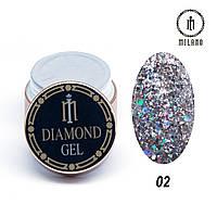 Глиттер-гель Diamond Milano 8G № 02, 8 мл