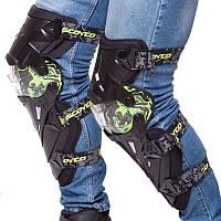 Комплект мотозащиты SCOYCO наколінники (колень+гомілка) пластик, PL, чорно-салатовий (K12)