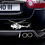 "Наклейка на автомобиль ""Вертолёт"", 24,5 см х 8,6 см, белая, фото 3"