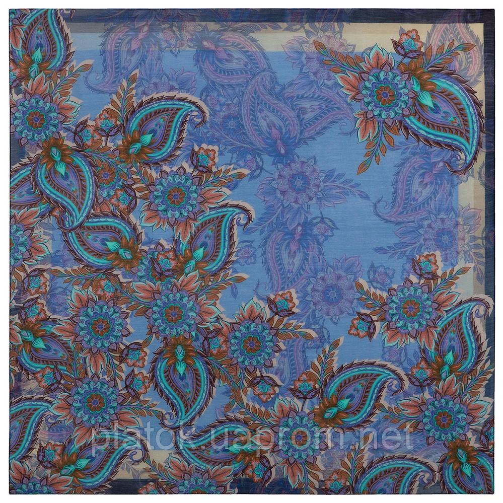 10473-14, павлопосадский платок шерстяной (разреженная шерсть) с швом зиг-заг