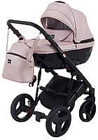 Детская коляска 2 в 1 Bair Crystal BC-02 розовый перламутр 100% кожа