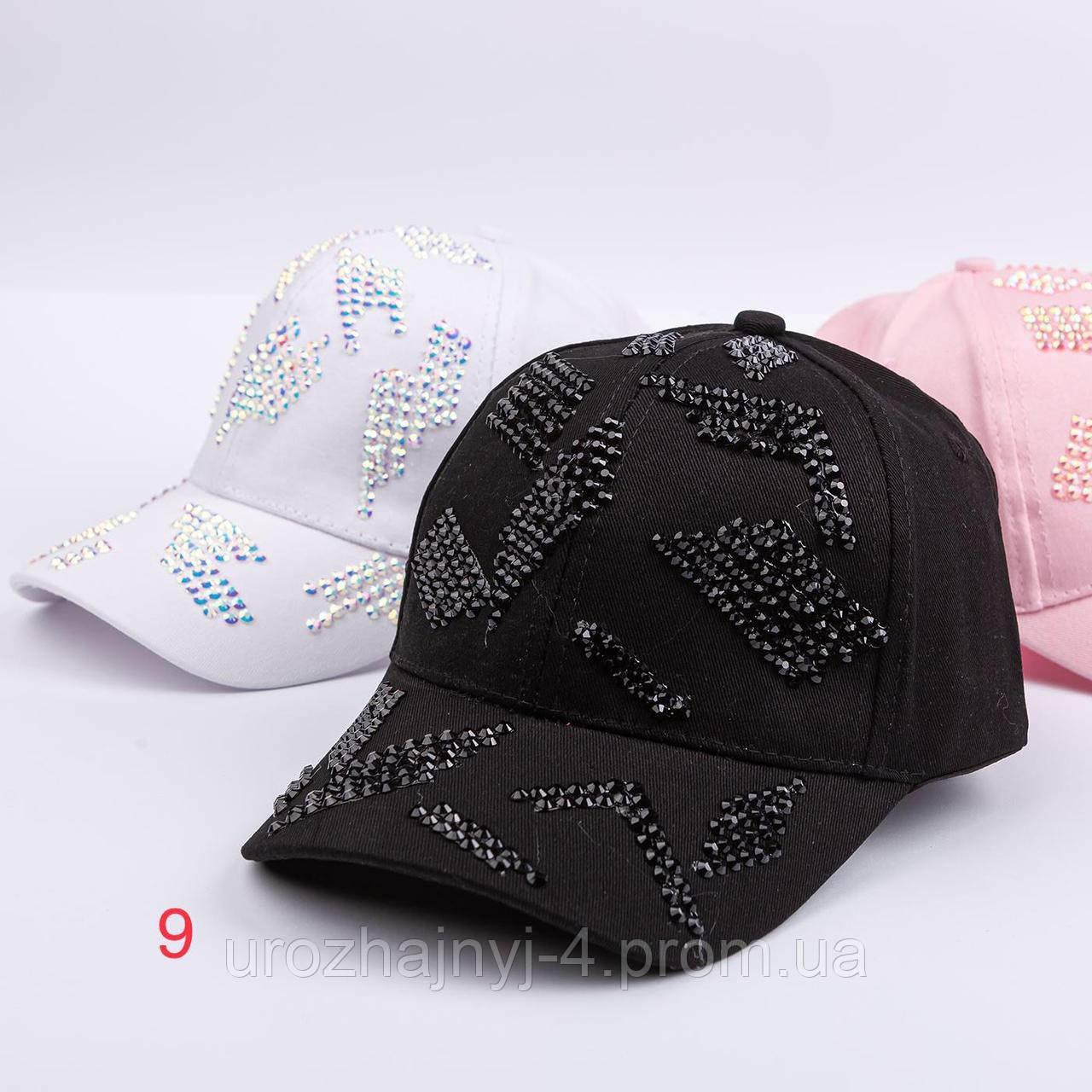 Котонові кепка для дівчаток з стразами р52-54