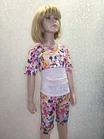 Повседневный летний костюм для девочек с бриджами