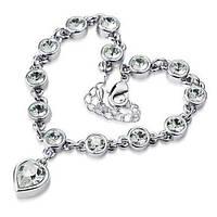 """Изящные браслеты с подвеской """"Сердце"""" в серебрянной оправе с белыми камнями"""