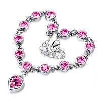 """Изящные браслеты с подвеской """"Сердце"""" в серебрянной оправе с розовымикамнями"""