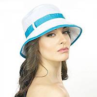 Белая женская шляпа Brezza с голубым ремешком