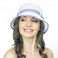 Белая женская шляпа Brezza с сиреневым ремешком