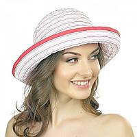 Белая женская шляпа Brezza с красными полосками