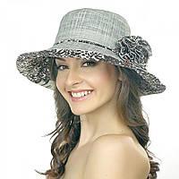 Серая летняя женская шляпа Brezza с коричневым рисунком