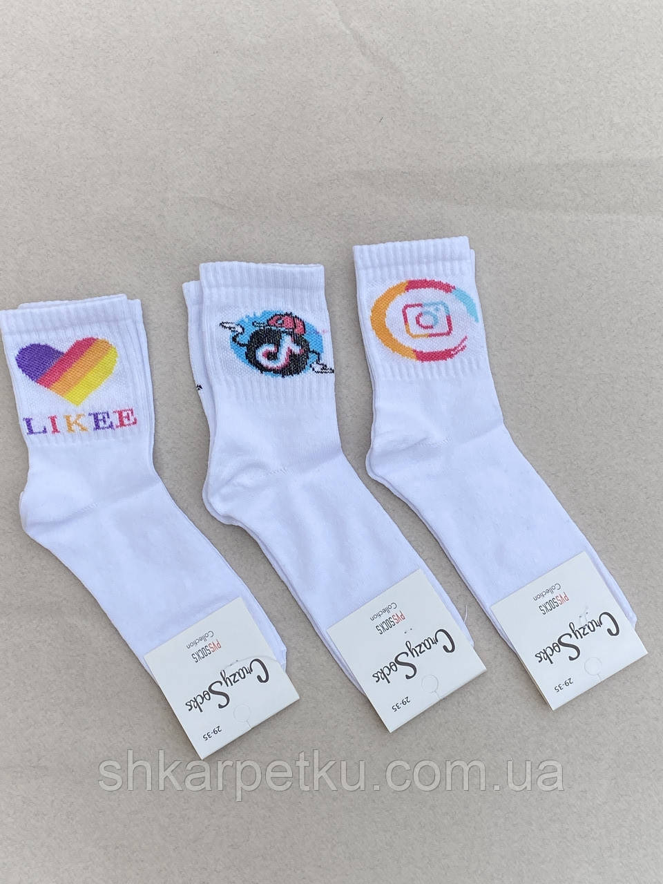 Підліткові носки шкарпетки теніс стрейчеві Crazy Socks з принтом INSTAGRAM TIK TOK 30-34, 35-38 12шт в уп білі