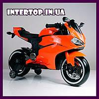 Детский двухколесный электромобиль мотоцикл с подсветкой колес Bambi M 4104EL-7 оранжевый