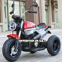 Детский электро-мотоцикл BMW на аккумуляторе Bambi с кожаным сиденьем на резиновых колесах. M 3687AL-3 красный