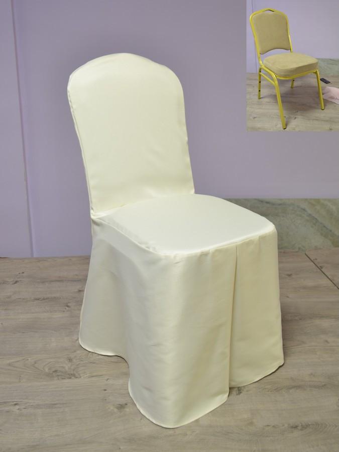 Чохол на стілець Трапеція з Щільної Тефлон тканини Шампань
