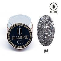 Глиттер-гель Diamond Milano 8G № 04, 8 мл