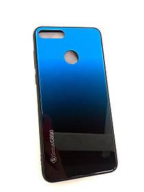 Чехол для телефона Huawei Y9 (2018) Silicone Glass Gradient Status Case черно-синий