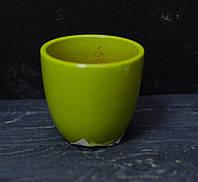 Керамічний горщик під маленький вазон салатовий