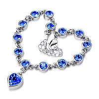 """Изящные браслеты с подвеской """"Сердце"""" в серебрянной оправе с синими камнями"""