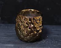 Керамический горшок под маленький вазон. цвет бронза