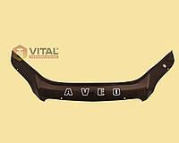 Мухобойка, дефлектор капота Chevrolet Aveo 2008-2011 (х/б) (Vip tuning)