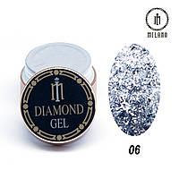 Глиттер-гель Diamond Milano 8G № 06, 8 мл