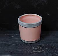 Керамічний горщик під маленький вазон. рожевий з сірим, фото 1