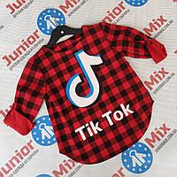 Детские рубашки в клеточку для девочек оптом   Tik Tok, фото 1