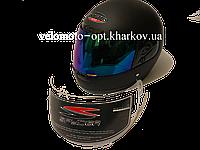 Шлем черный матовый, закрытый CNHF с двумя визорами, L 59-60 см