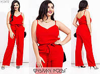 Лляний костюм жіночий з брюками (5 кольорів) МЕ/-238/1 - Червоний, фото 1