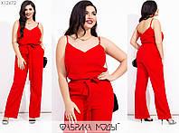 Льняной костюм женский с брюками (5 цветов) МЭ/-238/1 - Красный, фото 1