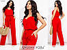 Лляний костюм жіночий на бретельках (5 кольорів) МЕ/-238 - Червоний