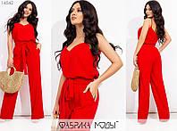 Лляний костюм жіночий на бретельках (5 кольорів) МЕ/-238 - Червоний, фото 1