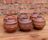Горшочки для запекания 6 шт из красной керамики с поясом