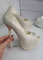 Туфли белые, высокий каблук, платформа,свадебные туфли, фото 1