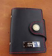 Кожаная визитница / кредитница / картхолдер черно-красный, фото 1