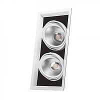 Карданный светильник Feron AL212 2xCOB 30W белая рамка
