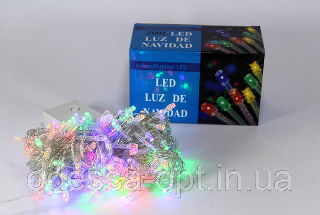 Светодиодная LED гирлянда Xmas 200 M-1 (цветные диоды), фото 2