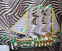 "Корабль из конфет ""Изумруд"" с Асти Мартини 1,5 л"
