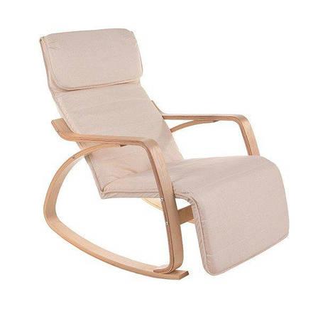 Кресло качалка LUSSO с подножкой Бежевое пользья дерево, фото 2