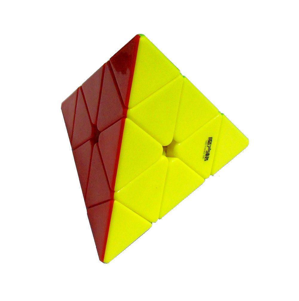 Пирамидка Qiyi-Mofange цветная Piraminx с чехлом и подставкой