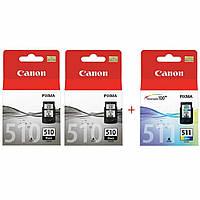 Комплект струменевих картриджів для Canon Pixma MP230 / MP250 / MP270 PG-510 / CL-511 Black2 / Color (Set510BBC)