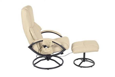 Кресло с масажем ROCCO + puff z masażem - beżowy, фото 2