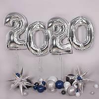 Воздушные шары фольгированные серебро, цифры 2020 на выпускной