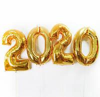 Воздушные шары фольгированные, золото цифры 2020 на выпускной