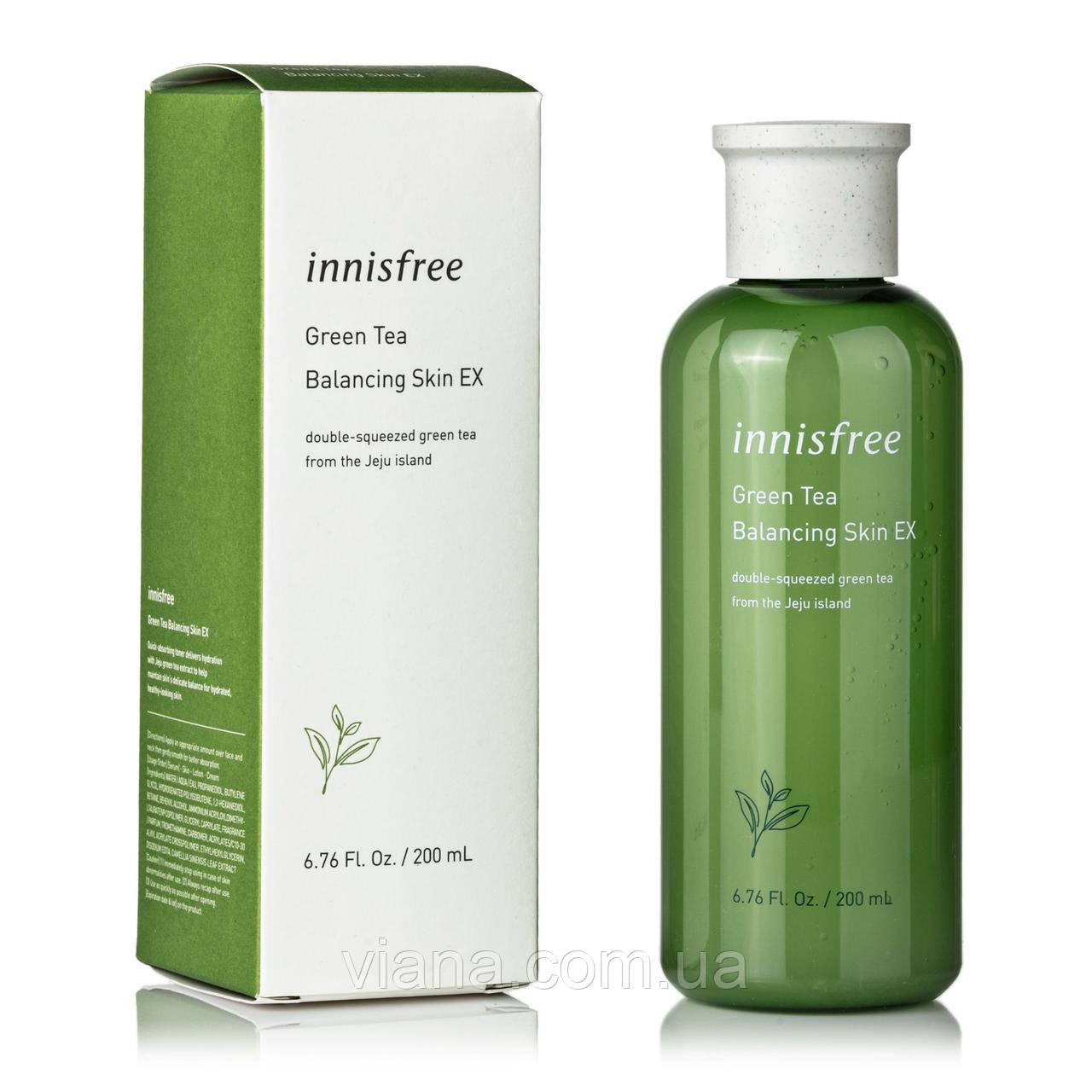 Балансирующий тонер с зеленым чаем Innisfree Green Tea Balancing Skin 200 мл