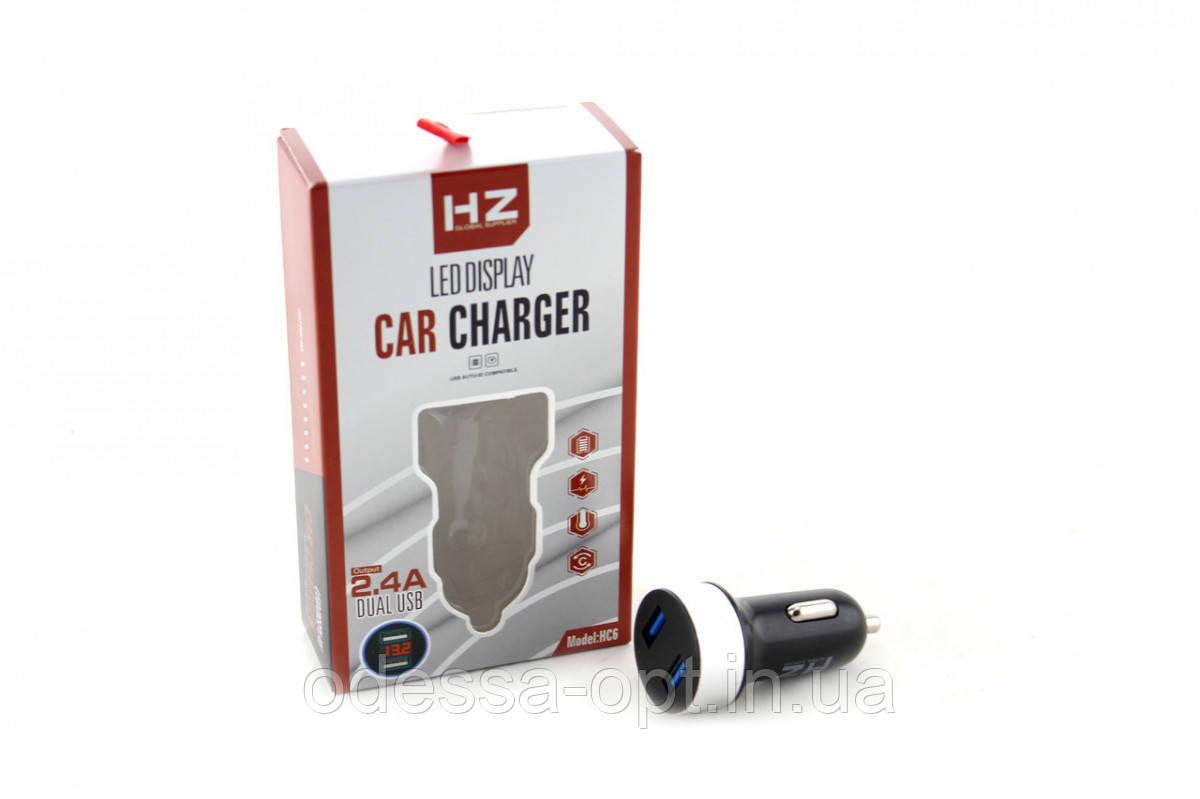 Адаптер CAR (АВТОМОБИЛЬНЫЙ) 2 USB HC6 с отоброжением напряжения