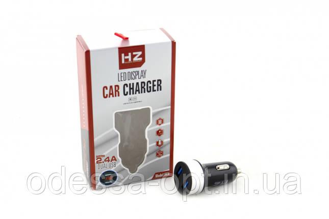 Адаптер CAR (АВТОМОБИЛЬНЫЙ) 2 USB HC6 с отоброжением напряжения, фото 2