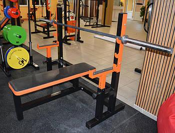 Лавка для жима горизонтальная со страховкой MALCHENKO профессиональная серия до 300 кг.